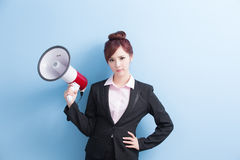 Business woman take microphone angrily Stock Images