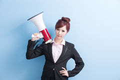 Business woman take microphone angrily Royalty Free Stock Photos