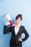 Business woman take microphone angrily Royalty Free Stock Photo