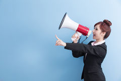 Business woman take microphone happily Stock Photos