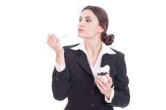 Business woman taking an ice cream break or pause Stock Image