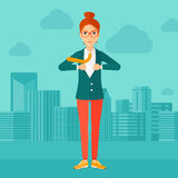 Business woman taking off jacket. Royalty Free Stock Photos