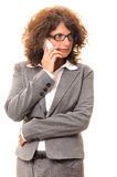 Business woman talk on cell phone look side Royalty Free Stock Photo