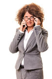 Business woman talk on cell phone Stock Images