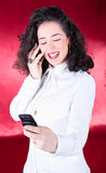 Business woman talk on the mobile phone Stock Photography