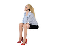 Business woman talk phone Royalty Free Stock Photography
