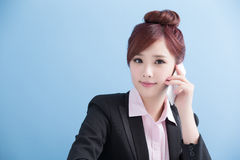 Business woman talk on phone. With isolated on blue background, asian Royalty Free Stock Photo