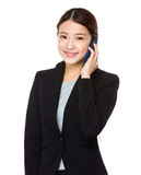 Business woman talk to cellphone Stock Photo