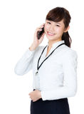 Business woman talk to mobile Royalty Free Stock Photo