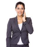 Business woman talk to mobile phone Royalty Free Stock Photo