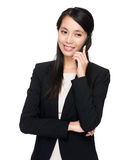 Business woman talk to phone Royalty Free Stock Images