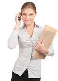 Business woman talking on a cell phone Stock Photography