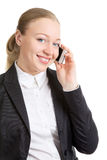 Business Woman Talking On Cell Phone. Happy business woman talking on cell phone, isolated on white Royalty Free Stock Photos