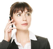 Business woman talking on cell phone Royalty Free Stock Photography