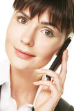 Business woman talking on cell phone Royalty Free Stock Photo