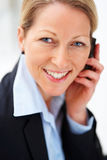 Business woman talking on cellphone Royalty Free Stock Image