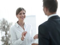 Business woman talking with a colleague.. Stock Photo