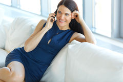 Business Woman Talking On Her Cellphone at Office. Business Peop Royalty Free Stock Image