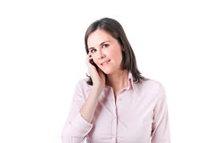Business woman talking on her mobile phone. Royalty Free Stock Photo