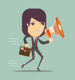 Business woman talking into a megaphone Royalty Free Stock Photography