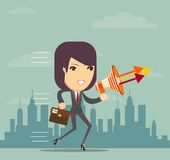Business woman talking into a megaphone Stock Image