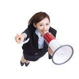 Business woman talking in megaphone Stock Images