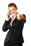 Business woman talking on mobile Stock Images