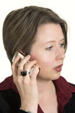 Business woman talking on mobile phone royalty free stock images
