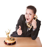 Business woman talking phone. Royalty Free Stock Image