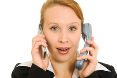 Business woman talking on the phone Royalty Free Stock Photos