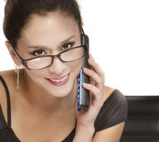 Business woman talking on phone. Royalty Free Stock Images