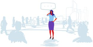 Business woman talking phone chat bubble communication businesswoman standing outdoor out from crowd speech conversation. People silhouette cityscape background royalty free illustration