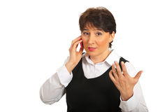 Business woman talking by phone mobile Stock Photography
