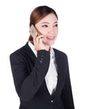 Business woman talking on smartphone isolated on white Stock Photo