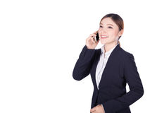 Business woman talking on smartphone isolated on white Stock Photos