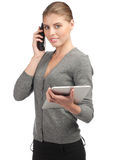 Business woman talking on telephone Stock Images