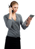 Business woman talking on telephone Stock Image