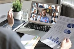 Free Business Woman Talking To Her Colleagues In Video Conference. Business Team Working From Home Using Laptop Stock Photography - 183142692