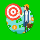 Business woman with target board. A businessman aiming at a target board and money flying around him. Vector flat design illustration in the circle  on dark Royalty Free Stock Photo
