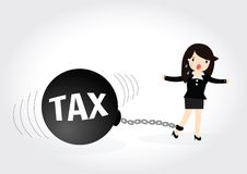 Business woman Tax Concept. Business woman locked in a debt ball and chain. Businessman with debt burden Stock Photo