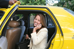 Business Woman in Taxi Stock Images