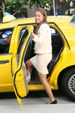 Business Woman in Taxi Stock Image