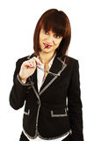 Business woman or teacher with eyeglasses Royalty Free Stock Photos