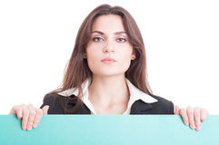 Business woman or teacher holding green empty cardboard Stock Photography