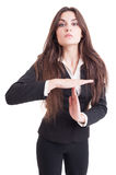 Business woman or teacher showing time out gesture Stock Photos