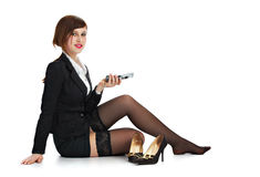 Business woman with telephone Stock Photos