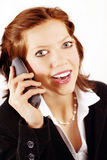 Business woman with telephone Royalty Free Stock Photo