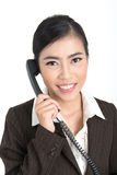 Business woman with telephone. Business woman with a telephone Royalty Free Stock Photo