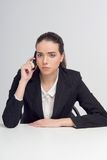 Business woman with telephone Royalty Free Stock Image