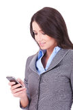 Business Woman Texting From Her Cellphone Stock Photography